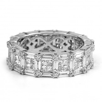 14k w/g baguette and round-cut diamond eternity band