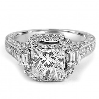 18K W/G Princess-Cut Halo Diamond Engagement Ring
