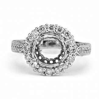 14k w/g round diamond halo setting milgrain borders