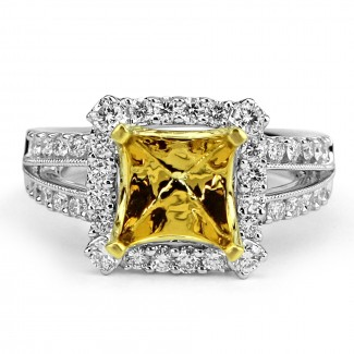 18k two-tone w/g & y/g square cut diamond setting split shank milgrain border
