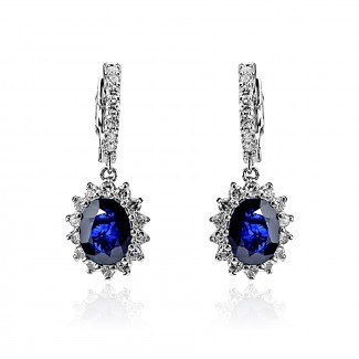14k w/g blue sapphire and diamond drop earring