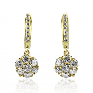 14k y/g diamond cluster drop earrings