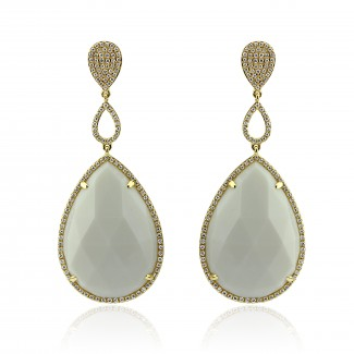 14k y/g white onyx diamond earrings