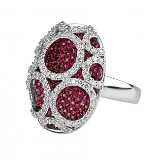 14k w/g ruby & diamond large oval shape cocktail ring