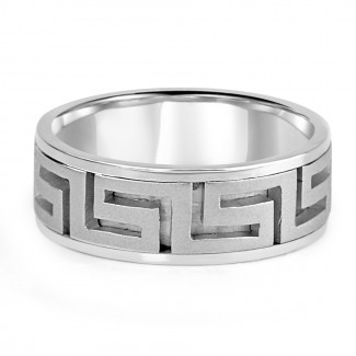 14k w/g carved aztec mens wedding band