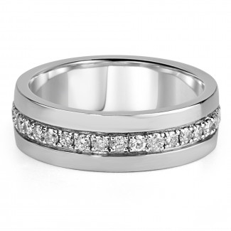 14k w/g diamond mens band high polish