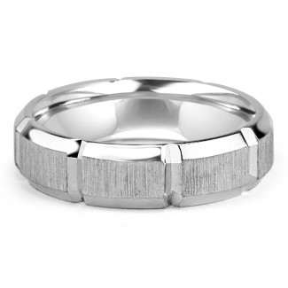14k w/g mens blocked wedding band satin finish