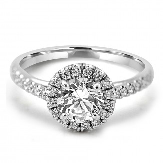 18K W/G Round-Cut Halo Diamond Engagement Ring
