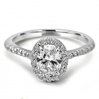 18K W/G Oval-Cut Halo Diamond Engagement Ring