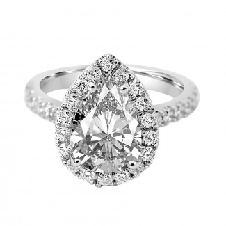 18K W/G Pear-Cut Diamond Halo Engagement Ring