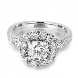 14k W/G Round-Cut Diamond Cushion Halo Engagement Ring Split Shank