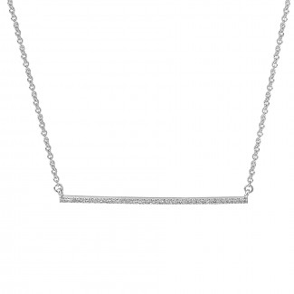 14K W/G Pave Diamond Bar Necklace