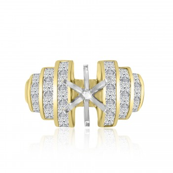 18k y/g round diamond solitaire setting 2.50ctw