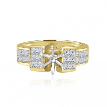 18k y/g round solitaire diamond setting 1.50ctw