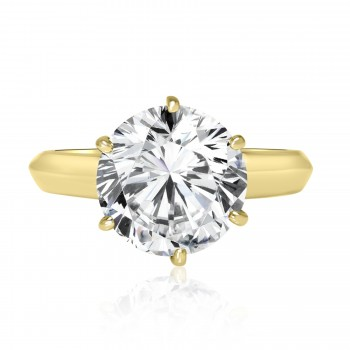 14k two-tone y/g & w/g round diamond solitaire engagement ring