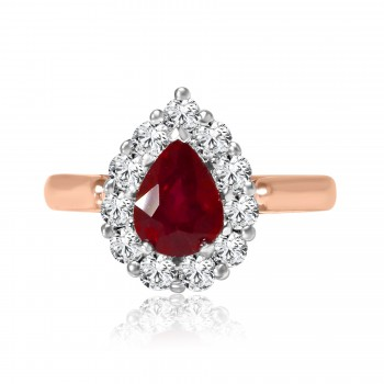 14k r/g & w/g pear shape ruby & diamond halo ring 2.32ctw