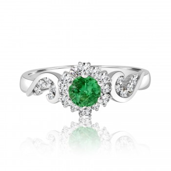 18k w/g diamond & emerald ring 1.20ctw