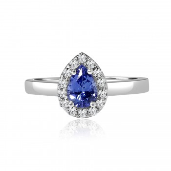 18k w/g pear tanzanite halo diamond engagement ring 1.00ctw