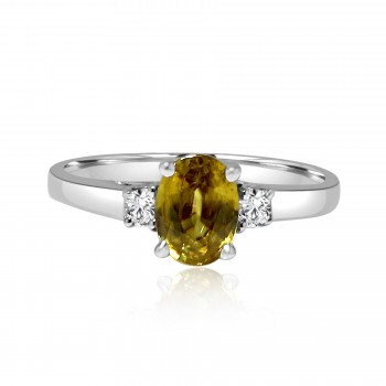 18k w/g diamond & peridot ring 1.32ctw