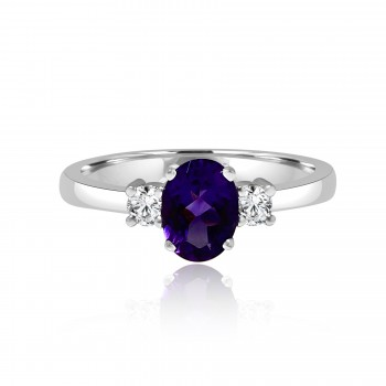 14k w/g diamond & amethyst ring 1.50ctw
