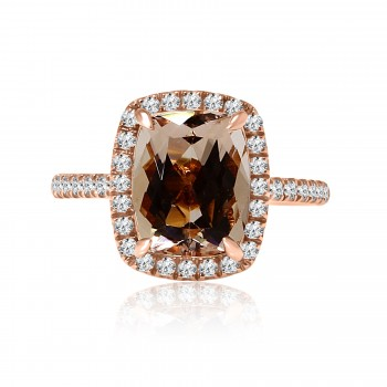 14k r/g elongated cushion morganite diamond engagement ring 3.00ctw