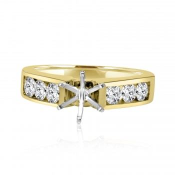 14k y/g round solitaire diamond setting