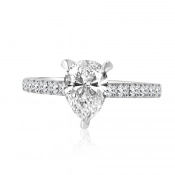 14k w/g pear solitaire diamond engagement ring 1.75ctw