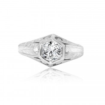 18k w/g round diamond vintage engagement ring 0.74ctw