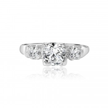 platinum antique 3-stone diamond engagement ring 1.35ctw