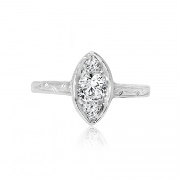 platinum antique marquise shape engagement ring