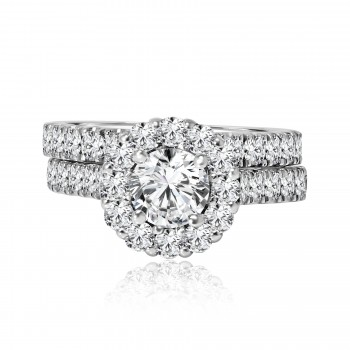 14k w/g round diamond halo engagement ring with matching band 2.35ctw