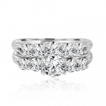 14k w/g round solitaire diamond engagement ring with matching band 2.00ctw