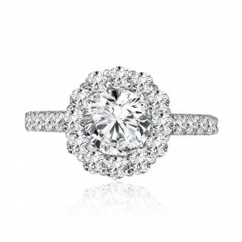 14k w/g round cut diamond halo engagement ring 1.85ctw