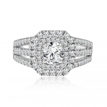 18k w/g round cut double halo diamond engagement ring 2.15ctw
