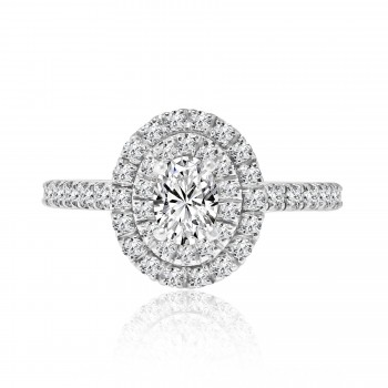 14k w/g oval cut double halo diamond engagement ring 1.00ctw