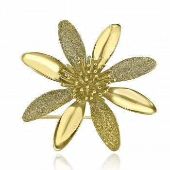 18K Y/G Vintage Flower Brooch Pin