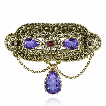 14k Y/G Vintage Amethyst and Garnet Brooch Pin