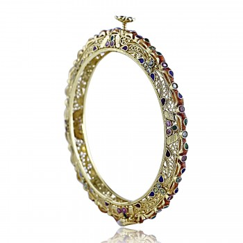 21k multicolor gemstone french inspired bangle