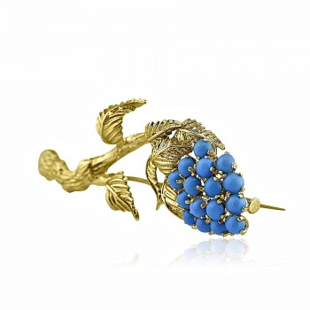18k y/g Persian turquoise brooch 1.50ctw