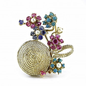 14k y/g multi-color brooch 2.00ctw