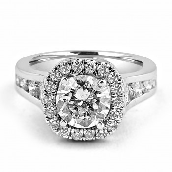18K W/G Round Brilliant-Cut Diamond Halo Engagement Ring Tapered Channel Setting