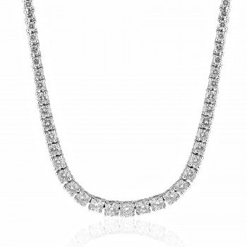 18K W/G Graduated Round-Cut Diamond Tennis Necklace