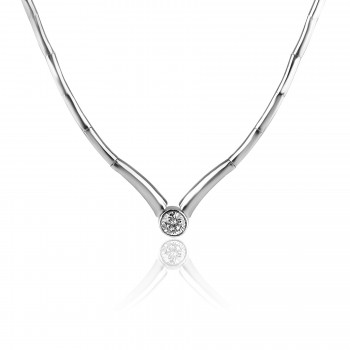 14K W/G Bone Link Diamond Bezel Necklace
