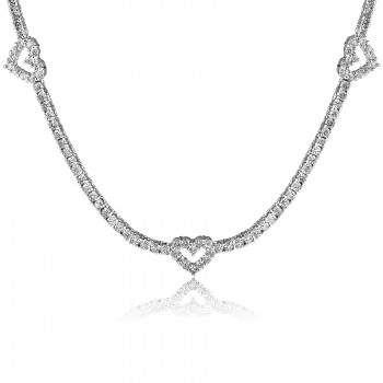 18K W/G Round-Cut Diamond Floating Hearts Tennis Necklace