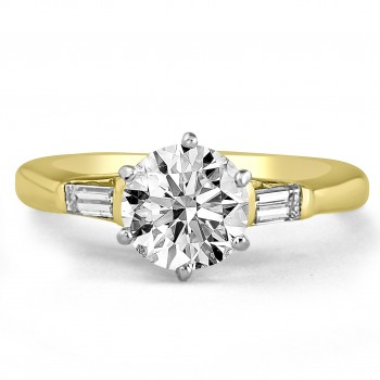 18K Y/G Round-Cut Diamond and Baguette Engagement Ring
