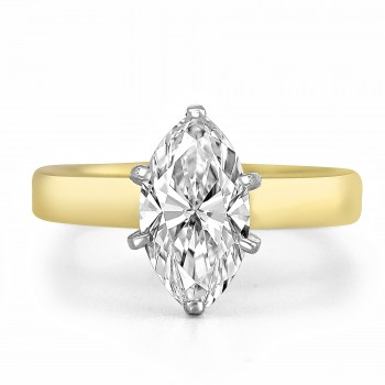 18K Y/G Solitaire Marquise-Cut Diamond Engagement Ring