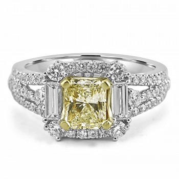 18K W/G Radiant-Cut Fancy Yellow Diamond Engagement Ring