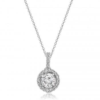 14K W/G Round-Cut Diamond Halo Pendant