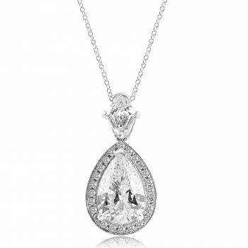 18K W/G Pear-Cut Diamond Milgrain Halo Pendant