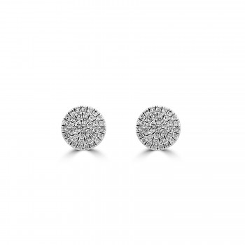 14k w/g diamond pave disc earrings